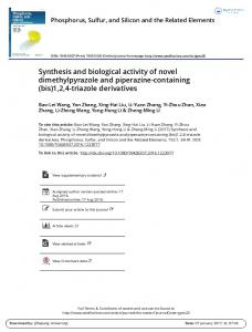 Synthesis and biological activity of novel