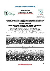 Synthesis and biological evaluation of chlorthalidone schiff base and ...