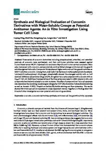Synthesis and Biological Evaluation of Curcumin Derivatives ... - MDPI
