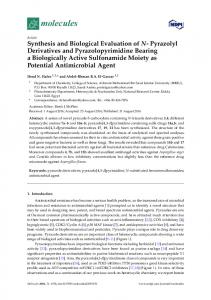 Synthesis and Biological Evaluation of N-Pyrazolyl Derivatives and