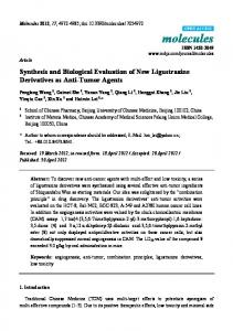 Synthesis and Biological Evaluation of New Ligustrazine ... - CiteSeerX