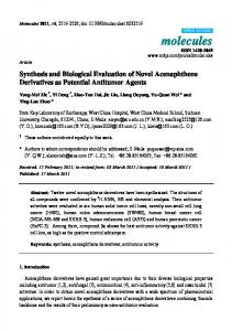 Synthesis and Biological Evaluation of Novel