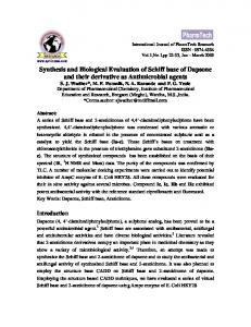 Synthesis and Biological Evaluation of Schiff base of Dapsone and ...