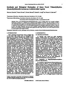 Synthesis and Biological Evaluation of Some Novel