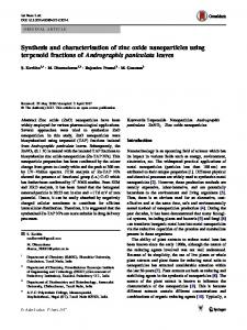 Synthesis and characterisation of zinc oxide