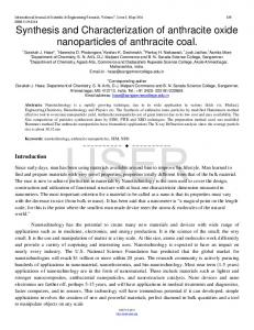 Synthesis and Characterization of anthracite oxide ... - Ijser