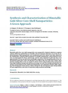 Synthesis and Characterization of Bimetallic Gold-Silver Core-Shell ...