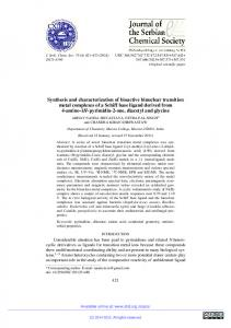 Synthesis and characterization of bioactive binuclear ... - doiSerbia