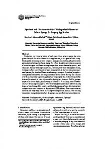 Synthesis and Characterization of Biodegradable Hemostat Gelatin ...