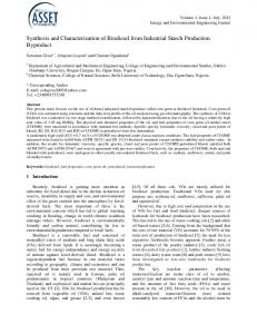 Synthesis and Characterization of Biodiesel from Industrial Starch