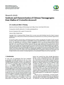 Synthesis and Characterization of Chitosan Nanoaggregates from ...
