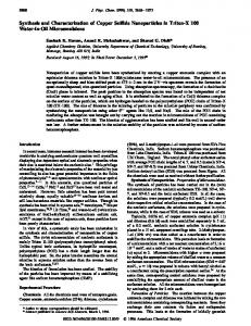 Synthesis and Characterization of Copper Sulfide ... - ACS Publications