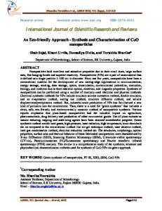 Synthesis and Characterization of CuO nanoparticles - International