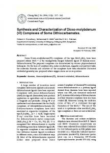 Synthesis and Characterization of Dioxo-molybdenum