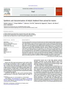Synthesis and characterization of ethylic biodiesel from animal ... - Core