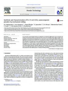 Synthesis and characterization of Fe-15wt.% ZrO2