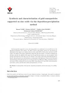 Synthesis and characterization of gold nanoparticles ... - DergiPark