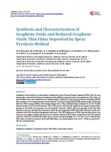 Synthesis and Characterization of Graphene Oxide and Reduced ...