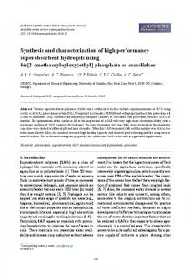 Synthesis and characterization of high performance superabsorbent