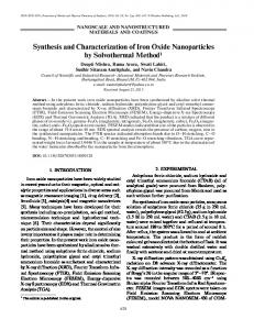 Synthesis and Characterization of Iron Oxide Nanoparticles by ...