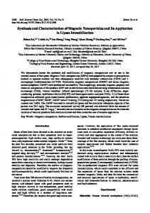 Synthesis and Characterization of Magnetic Nanoparticles and Its ...
