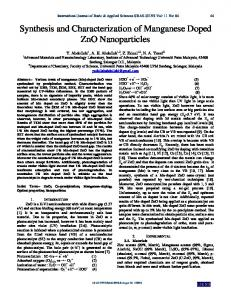 Synthesis and characterization of Manganese doped ZnO ... - ijens