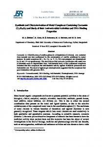 Synthesis and Characterization of Metal Complexes Containing ...