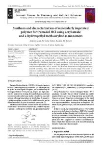 Synthesis and characterization of molecularly