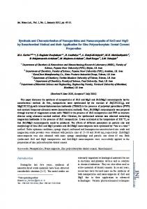 Synthesis and Characterization of Nanoparticles and Nanocomposite