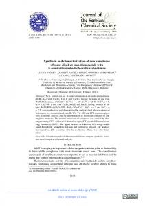 Synthesis and characterization of new complexes of some divalent ...