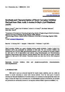 Synthesis and Characterization of Novel Corrosion Inhibitor Derived ...