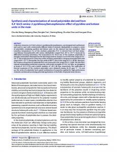 Synthesis and characterization of novel polyimides derived from 4, 4 ...
