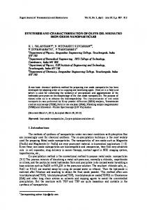 synthesis and characterization of olive oil mediated iron oxide ...
