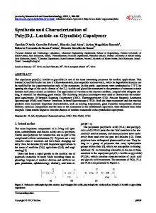 Synthesis and Characterization of Poly(D,L-Lactide-co-Glycolide ...