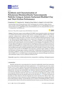 Synthesis and Characterization of Polystyrene-Montmorillonite ... - MDPI