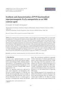 Synthesis and characterization of PVP-functionalized ...