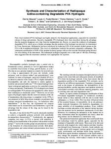 Synthesis and Characterization of Radiopaque Iodine-containing ...