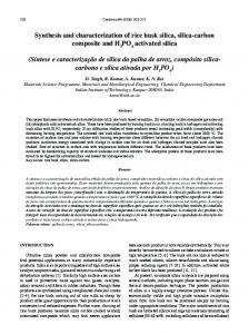 Synthesis and characterization of rice husk silica, silica ... - SciELO