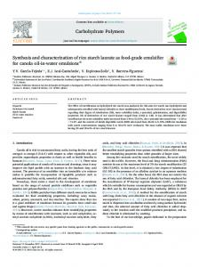 Synthesis and characterization of rice starch laurate ...