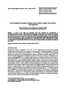Synthesis and characterization of Schiff-base-containing polyamides ...