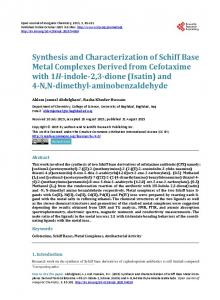 Synthesis and Characterization of Schiff Base Metal Complexes