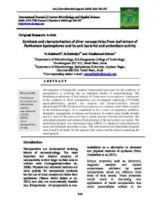 Synthesis and characterization of silver nanoparticles from leaf extract ...