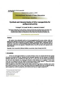 Synthesis and characterization of silver nanoparticles for antibacterial