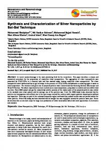 Synthesis and Characterization of Silver Nanoparticles by Sol-Gel
