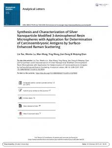 Synthesis and Characterization of Silver Nanoparticle