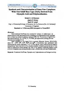 Synthesis and Characterization of Some New Complexes With New