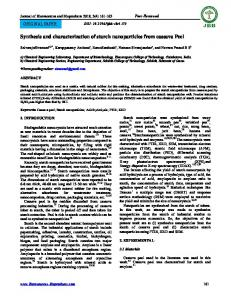 Synthesis and characterization of starch nanoparticles