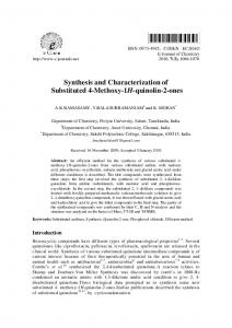 Synthesis and Characterization of Substituted 4-Methoxy-1H-quinolin