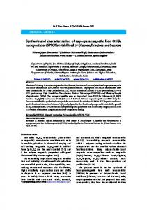 Synthesis and characterization of superparamagnetic Iron Oxide ...