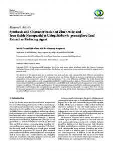 Synthesis and Characterization of Zinc Oxide and Iron Oxide ...
